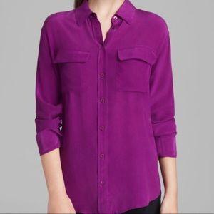 equipment signature silk blouse, fuschia - small